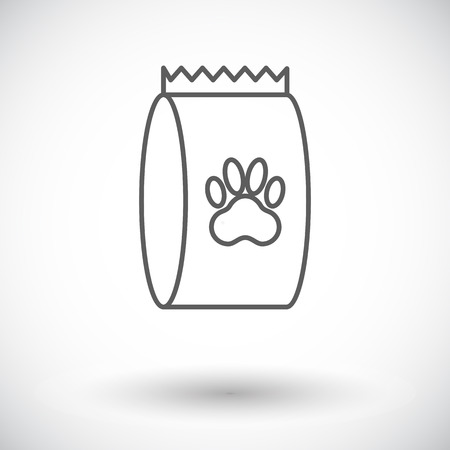 petshop: Pet food bag icon. Thin line flat vector related icon for web and mobile applications. Illustration