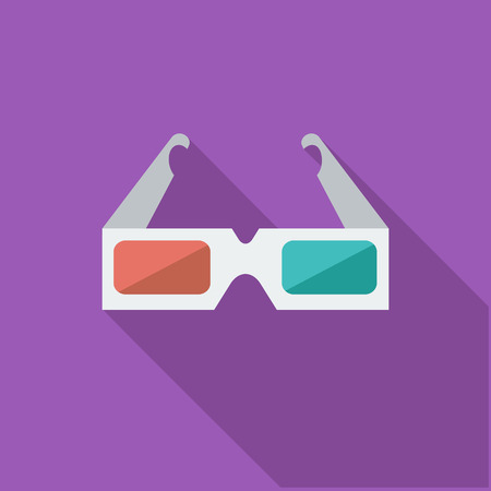 film: 3D glasses icon. Flat vector related icon with long shadow for web and mobile applications. Illustration