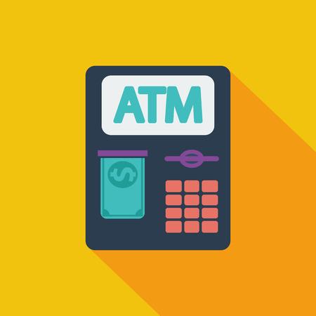 creditcard: Icono ATM. Vector plana icono relacionado con la larga sombra para web y aplicaciones m�viles.