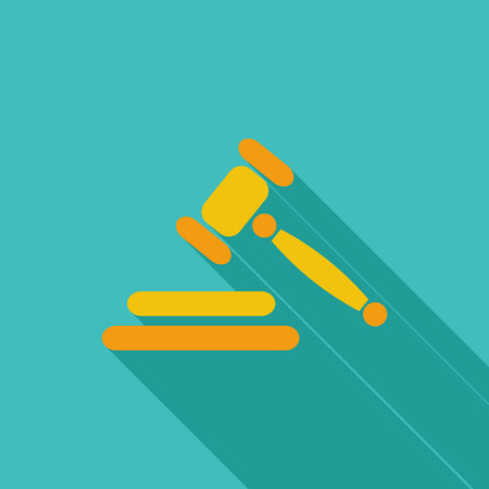 auction gavel: Auction gavel icon. Flat vector related icon with long shadow for web and mobile applications.