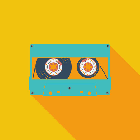 casette: Audiocassette icon. Flat vector related icon with long shadow for web and mobile applications.