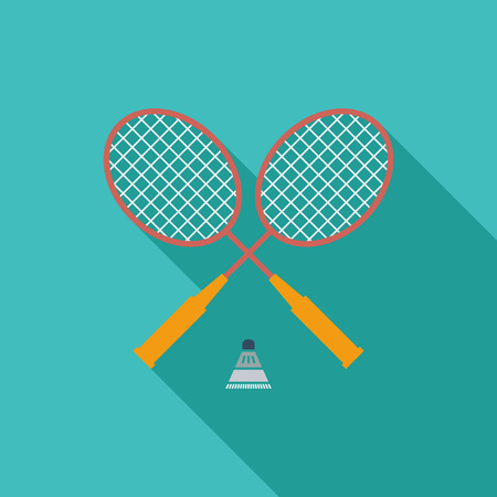 badminton: Badminton icon. Flat vector related icon with long shadow for web and mobile applications.  Illustration