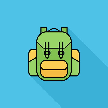 editable: Rucksack icon. Flat vector related icon with long shadow for web and mobile applications.
