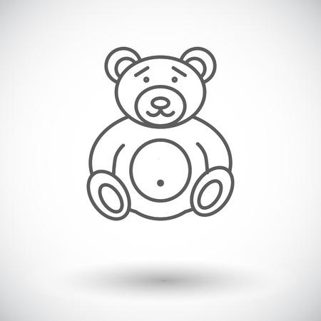 oso de peluche: Tenga icono juguete. L�nea fina vector plana icono relacionado para web y aplicaciones m�viles. Se puede utilizar como - logotipo, pictograma, icono, elemento de infograf�a. Ilustraci�n del vector.