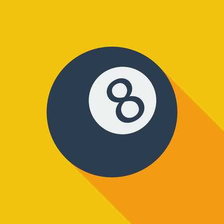 billiard ball: Billiard ball icon. Flat vector related icon with long shadow for web and mobile applications.