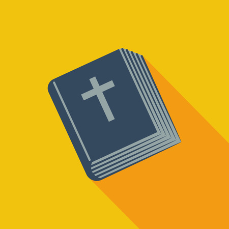 bible and cross: Bible icon. Flat vector related icon with long shadow for web and mobile applications.