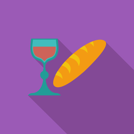 sacraments: Bread and wine icon. Flat vector related icon with long shadow for web and mobile applications.
