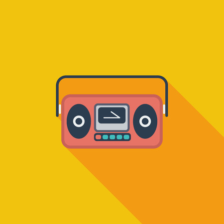 boom box: Boom box icon. Flat vector related icon with long shadow for web and mobile applications.  Illustration