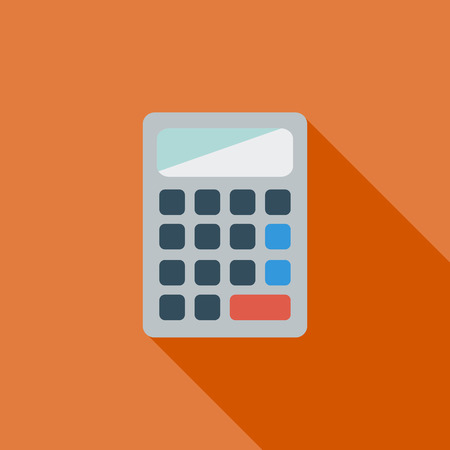 finance department: Calculator icon. Flat vector related icon with long shadow for web and mobile applications. It can be used as - logo, pictogram, icon, infographic element. Vector Illustration.