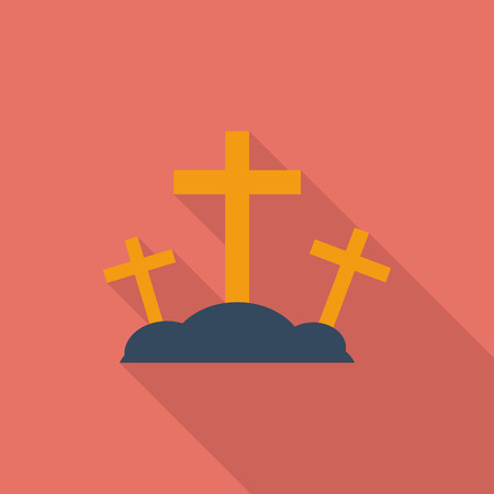 golgotha: Calvary icon. Flat vector related icon with long shadow for web and mobile applications.