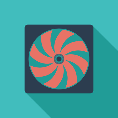 coolant temperature: Radiator fan icon. Flat vector related icon with long shadow for web and mobile applications.  Illustration