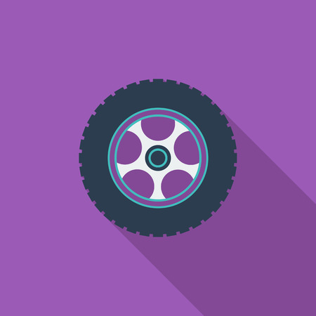 front wheel drive: Car wheel icon. Flat vector related icon with long shadow for web and mobile applications.  Illustration