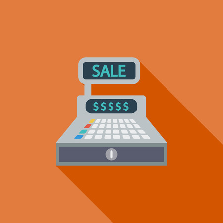 Cash register icon. Flat vector related icon with long shadow for web and mobile applications.