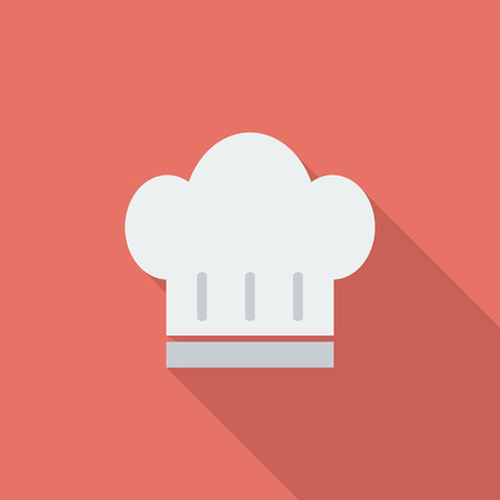 kitchener: Chef hat icon. Flat vector related icon with long shadow for web and mobile applications. Illustration