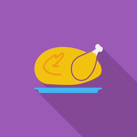chiken: Chiken icon. Flat vector related icon with long shadow for web and mobile applications. Illustration