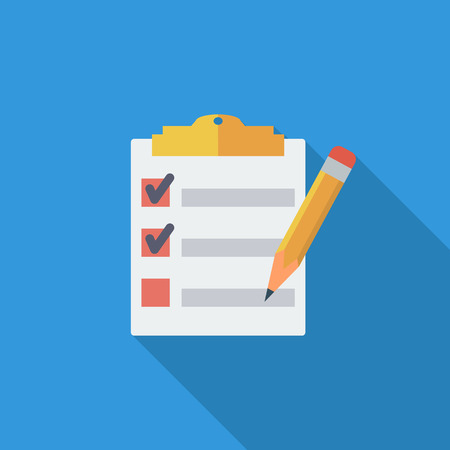 checklist: Clipboard with pen icon. Flat vector related icon with long shadow for web and mobile applications.  Illustration