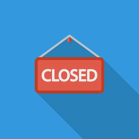 Closed Sign icon. Flat vector related icon with long shadow for web and mobile applications. Illustration