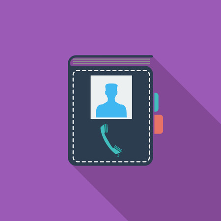 contact book: Contact book icon. Flat vector related icon with long shadow for web and mobile applications