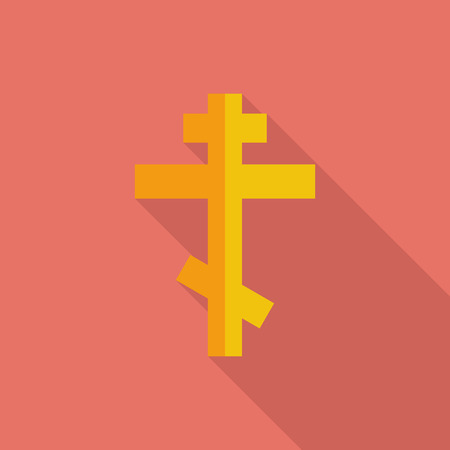 catholicism: Cross icon. Flat vector related icon with long shadow for web and mobile applications.