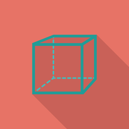 thinking link: Geometric cube icon. Flat vector related icon with long shadow for web and mobile applications. Illustration
