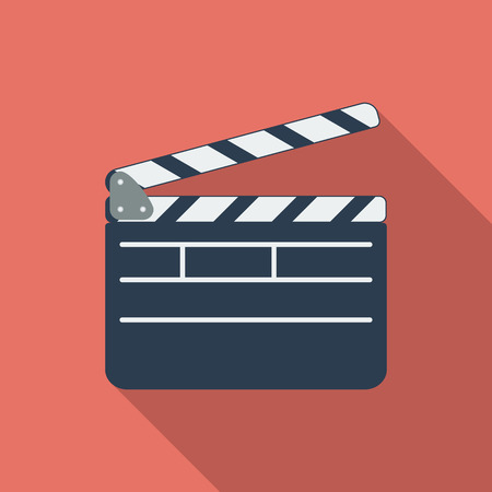 Director clapperboard icon. Flat vector related icon with long shadow for web and mobile applications.