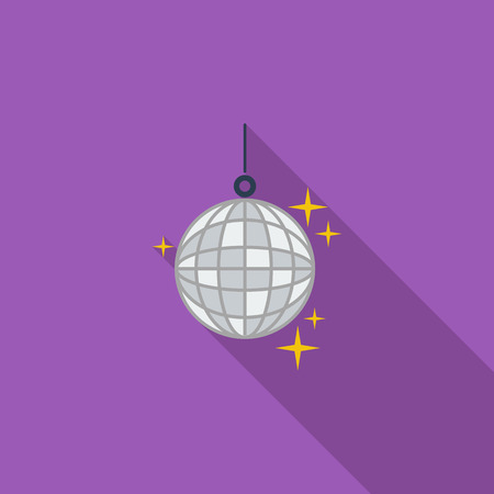 event icon: Disco ball icon. Flat vector related icon with long shadow for web and mobile applications.  Illustration