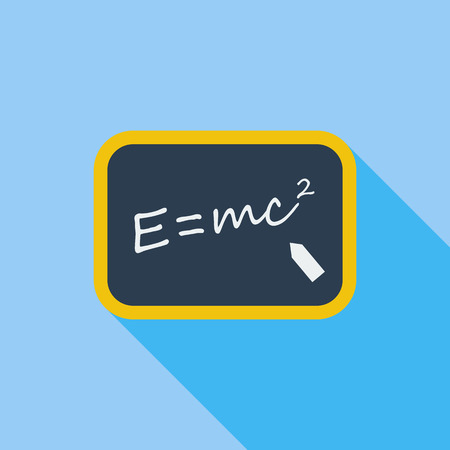 albert: E = mc2 icon. Flat vector related icon with long shadow for web and mobile applications. It can be used as - logo, pictogram, icon, infographic element. Vector Illustration.
