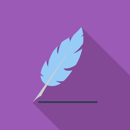 feather: Feather icon. Flat vector related icon with long shadow for web and mobile applications.
