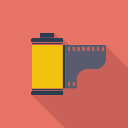 Film icon. Flat vector related icon with long shadow for web and mobile applications.  Illustration