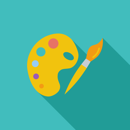creative arts: Fine Arts icon. Flat vector related icon with long shadow for web and mobile applications.