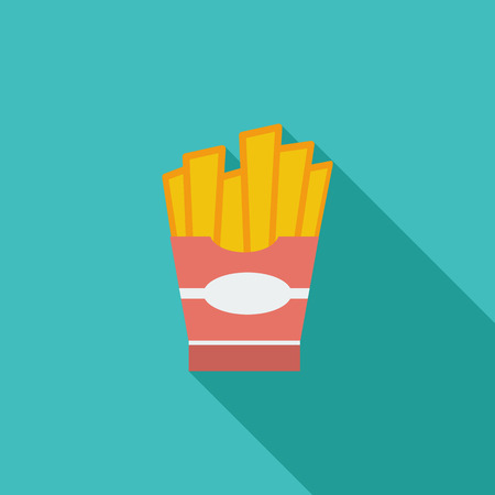 French fries icon. Flat vector related icon with long shadow for web and mobile applications.