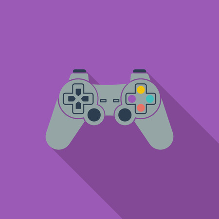 player controls: Game icon. Flat vector related icon with long shadow for web and mobile applications.