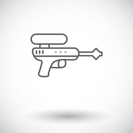 futuristic pistol: Gun toy icon. Thin line flat vector related icon for web and mobile applications.  Illustration