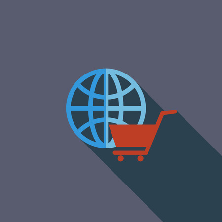 spherule: Global shopping icon. Flat vector related icon with long shadow for web and mobile applications.