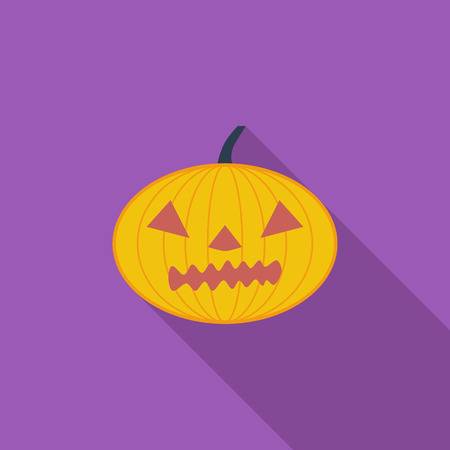 indulgence: Pumpkins for Halloween icon. Flat vector related icon with long shadow for web and mobile applications.
