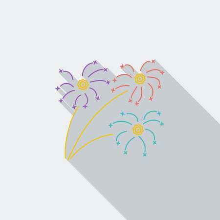 newyears: Firework icon. Flat vector related icon with long shadow for web and mobile applications.