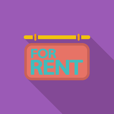 for rent: For rent icon. Flat vector related icon with long shadow for web and mobile applications.