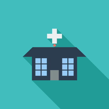 hospital icon: Hospital icon. Flat vector related icon with long shadow for web and mobile applications.