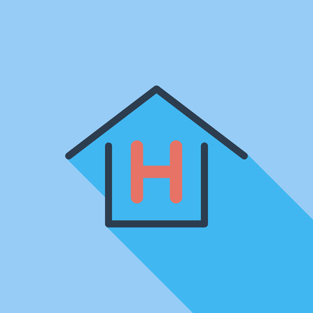 hostel: Hostel icon. Flat vector related icon with long shadow for web and mobile applications.