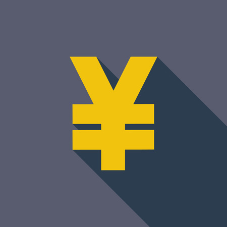 eps icon: Yen icon. Vector illustration EPS. icon. Flat vector related icon with long shadow for web and mobile applications.  Illustration