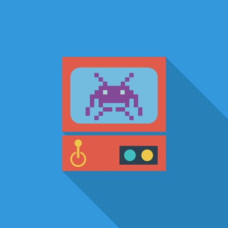 operated: Retro Arcade Machine icon. Flat vector related icon with long shadow for web and mobile applications. It can be used as - logo, pictogram, icon, infographic element. Vector Illustration. Illustration