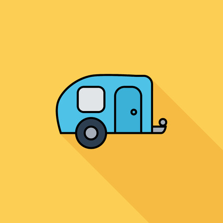 summer season: Trailer icon. Flat vector related icon with long shadow for web and mobile applications. It can be used as - logo, pictogram, icon, infographic element. Vector Illustration. Illustration
