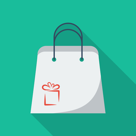 paperbag: Holiday bag icon. Flat vector related icon with long shadow for web and mobile applications. It can be used as pictogram, icon, infographic element. Vector Illustration.
