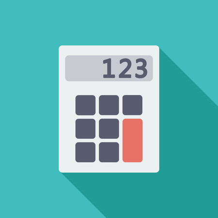 finance department: Calculator icon. Flat vector related icon with long shadow for web and mobile applications. It can be used as  pictogram, icon, infographic element. Vector Illustration.