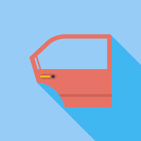 bodywork: Car door icon. Flat vector related icon with long shadow for web and mobile applications. It can be used as -  pictogram, icon, infographic element. Vector Illustration.