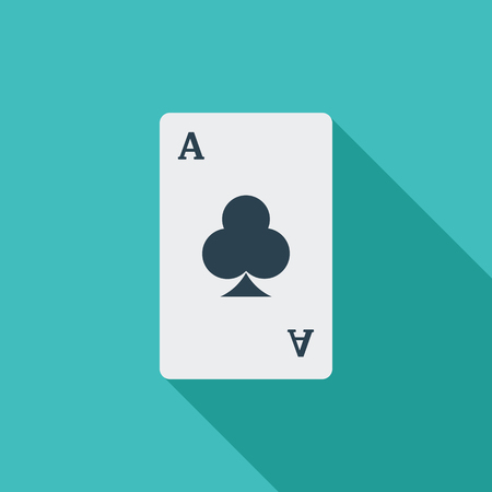 double the chances: Play card icon. Flat vector related icon with long shadow for web and mobile applications. It can be used as   pictogram, icon, infographic element. Vector Illustration.