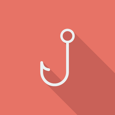 fishinghook: Fishhook icon. Flat vector related icon with long shadow for web and mobile applications. It can be used as  pictogram, icon, infographic element. Vector Illustration.