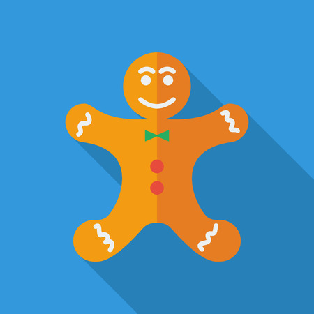 christmas cooking: Gingerbread icon. Flat vector related icon with long shadow for web and mobile applications. It can be used as  pictogram, icon, infographic element. Vector Illustration.
