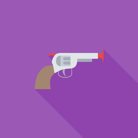 Gun toy icon. Flat vector related icon with long shadow for web and mobile applications. It can be used as pictogram, icon, infographic element. Vector Illustration.