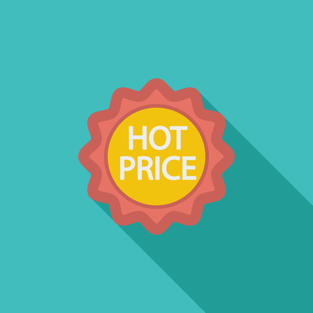 hot price: Hot Price icon. Flat vector related icon with long shadow for web and mobile applications. It can be used as  pictogram, icon, infographic element. Vector Illustration.